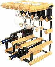 CHGDFQ Étagère à vin en bois massif pour verres