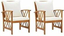 Chic© Pack de 2 Chaises de jardin avec coussins