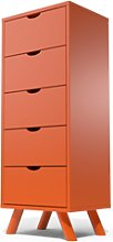 Chiffonnier 5 tiroirs Viking Scandinave bois Orange