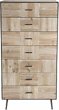 Chiffonnier 7 tiroirs bois sapin et pieds métal