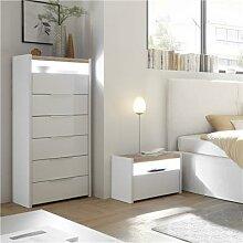 Chiffonnier LED blanc et couleur noyer moderne