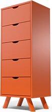 Chiffonnier Scandinave bois 5 tiroirs Viking Orange