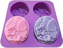 Chiic Moulle En Silicone,Papillon Fleur 3D Moulle