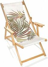 Chilienne pliante en bois et toile palmier jungle