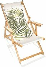 Chilienne pliante en bois et toile palmier vert -
