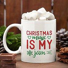 Christmas Music Is My Jam Mug, Christmas Ceramic
