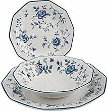 Churchill Roses Bleu Service Table, Earthware,