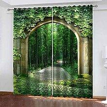CJGVKS Rideaux Occultants Forêt de Bambou Vert