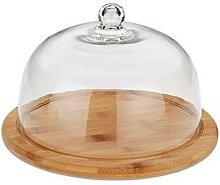 Cloche à fromage en verre et plateau en bambou