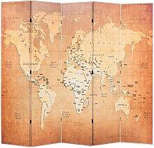 Cloison de séparation pliable 200 x 170 cm Carte