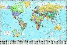 Close Up Carte du Monde(avec Drapeaux) Poster