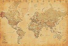 Close Up Poster Carte du Monde Style Vintage