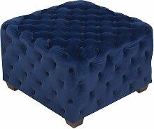 CLP - Tabouret bas cubique Nimes en Velours bleu