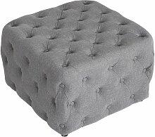CLP - Tabouret bas Pouf cubique Lugo en tissu gris