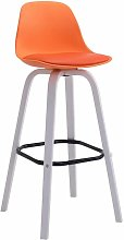 CLP - Tabouret de bar Avika plastique blanc orange