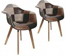 CMP Paris Fauteuil Design - Effet Cuir - Patchwork