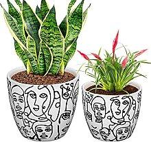 CODREAM Lot de 2 pots de fleurs en céramique –