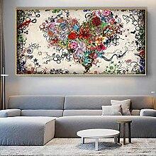 Coeur Fleur Murale Art Longue Image Au-Dessus du