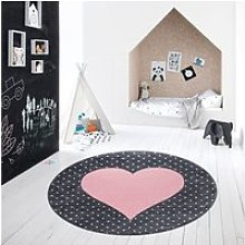 Coeur - tapis enfant rond à motifs points - rose