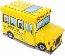 Coffre à jouets banquette bus jaune