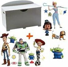 Coffre à jouets en bois blanc 2 en 1 thème toy