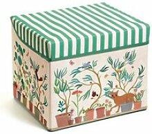 Coffre a jouets pliable tabouret motif jardin