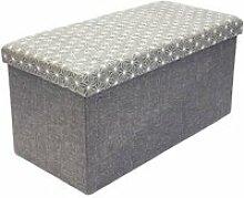 Coffre rangement banc tissu gris