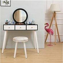 Coiffeuse 2 tiroir avec coulisses miroir rond