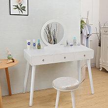 Coiffeuse à 3 tiroirs de style moderne blanc avec