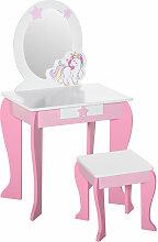 Coiffeuse enfant design licorne - tabouret inclus