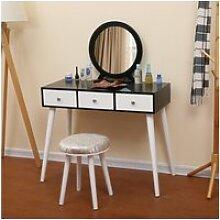 Coiffeuse style moderne blanc et noir - table de