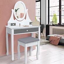 Coiffeuse table de maquillage en bois blanc et