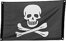 com-four® Drapeau Pirate avec crâne et os