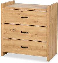 Commode 3 tiroirs en bois - Chêne