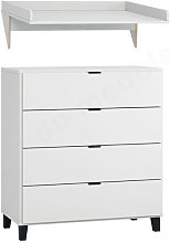 Commode 4 Tiroirs, Gamme Simple, Marque Vox Blanc