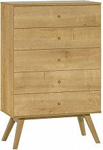 Commode 5 tiroirs NATURE couleur bois - couleur