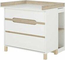 Commode à langer 3 tiroirs blanc/bois - ciel - l