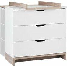 Commode à langer 3 tiroirs blanc/bois - kiono - l