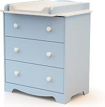 Commode à langer 3 tiroirs - bleu blanc et bleu