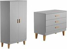 Commode à langer et armoire 2 portes lounge - gris