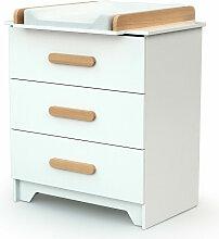 Commode avec plan à langer bois blanc et hêtre