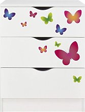 Commode blanche avec les tiroirs ROMA - Papillons