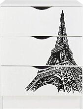 Commode blanche avec les tiroirs ROMA - Tour Eiffel