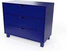 Commode bois 3 tiroirs Cube Bleu foncé