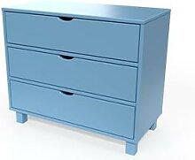 Commode bois 3 tiroirs Cube Bleu Pastel
