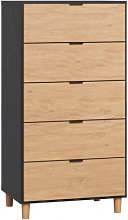 Commode haute 5 tiroirs largeur 62 cm SIMPLE -