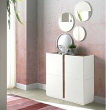 Commode meuble à chaussures coloris blanc/noyer -