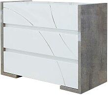 Commode URAM - 3 tiroirs - Coloris : blanc et