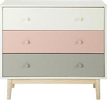 Commode vintage 3 tiroirs blanche, rose et grise