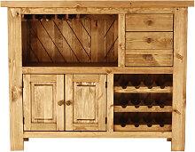 Comptoir de bar pin massif porte-bouteilles